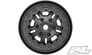 "PROLINE RACING - FAULTLINE 1.9"" BLACK/BLACK BEAD LOC 10 SPOKE FRONT OR REAR WHEELS - 2 FOR ROCK CRAWLERS"