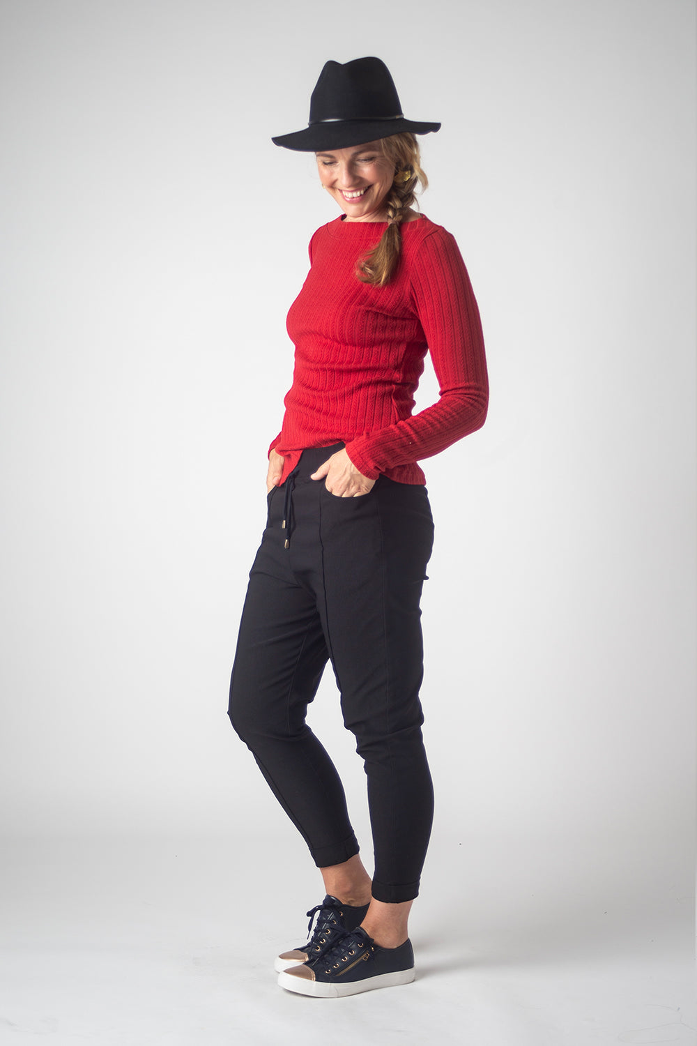 Boatneck Top, Red Plait
