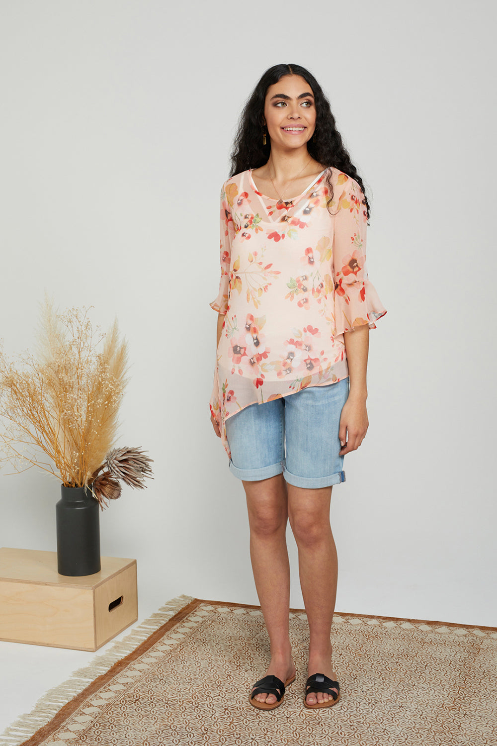 Coral Cherry Blossom Jasmine Blouse