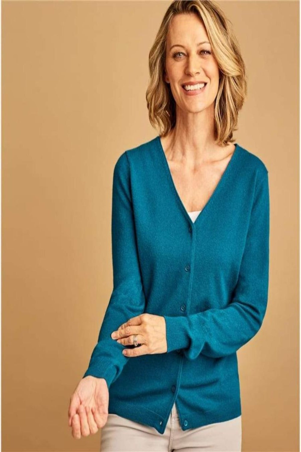 Cashmere Blend V Neck Cardigan, Midnight Green