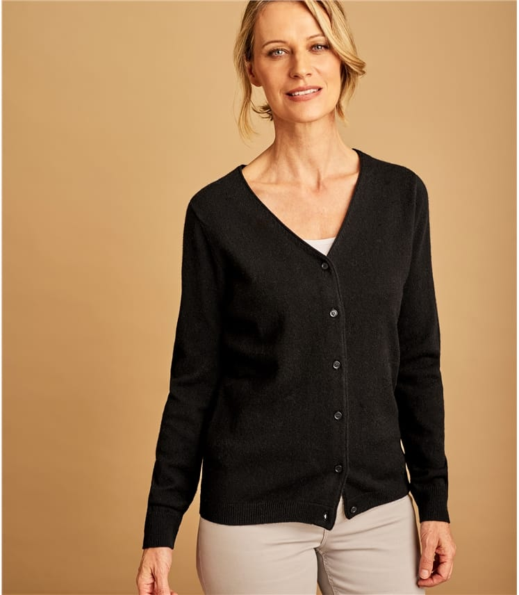 Cashmere Blend V Neck Cardigan, Black