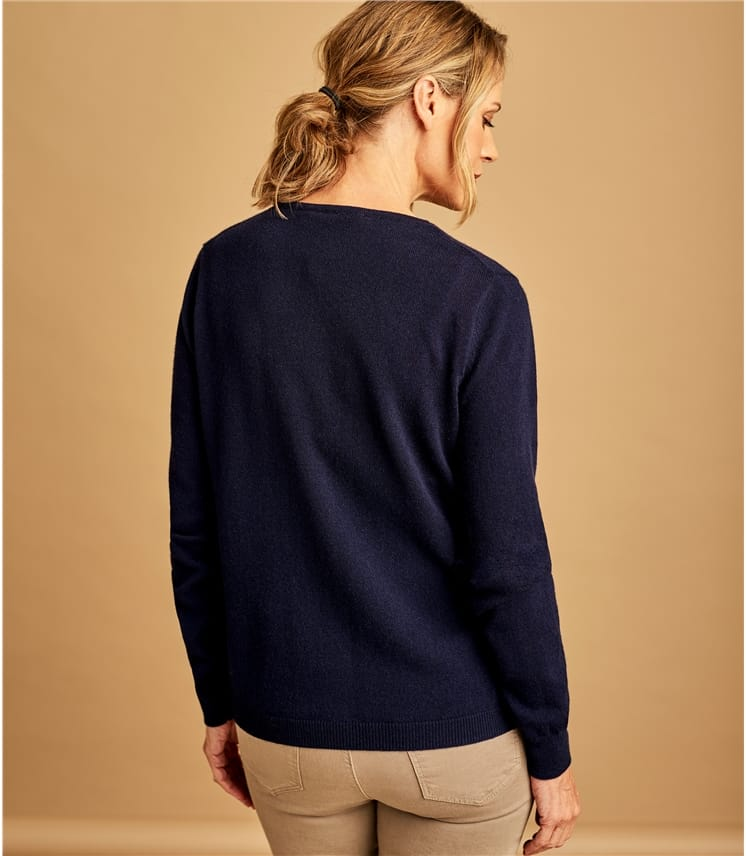 Cashmere Blend V Neck Cardigan, Navy