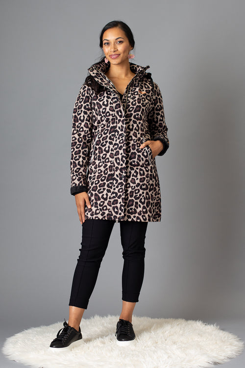 Leopard Luxe Fleece Bonded Longer Length Coat