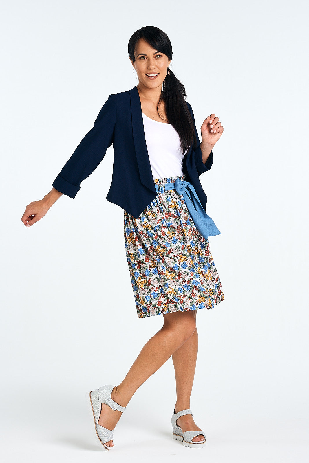 Helena Skirt, Summer Ditsy. Worn with Splash Jacket