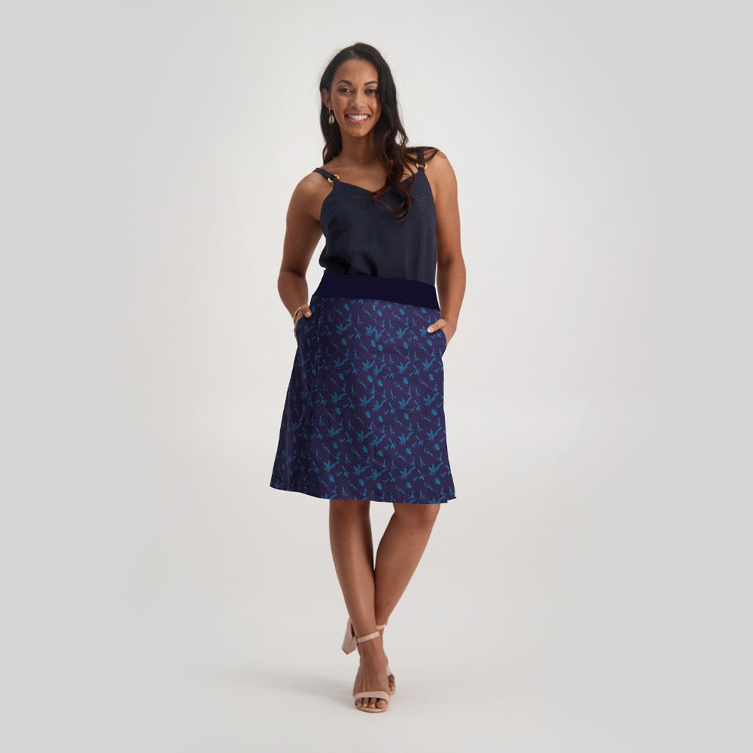 Alice Skirt, Navy Bird
