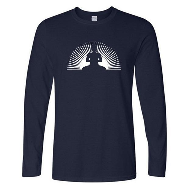 Meditating Buddha with sun shining - full sleeve tshirt
