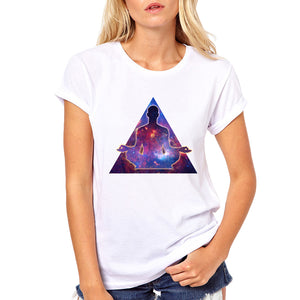 Meditating with the Universe - women's t-shirt