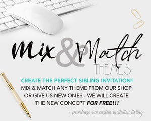 Twins Gymnastics Joint Birthday Invitations - Sibling Gymnast Party Invitation - Double Joint Flip Tumble Jump and Play Invite - CraftyKizzy