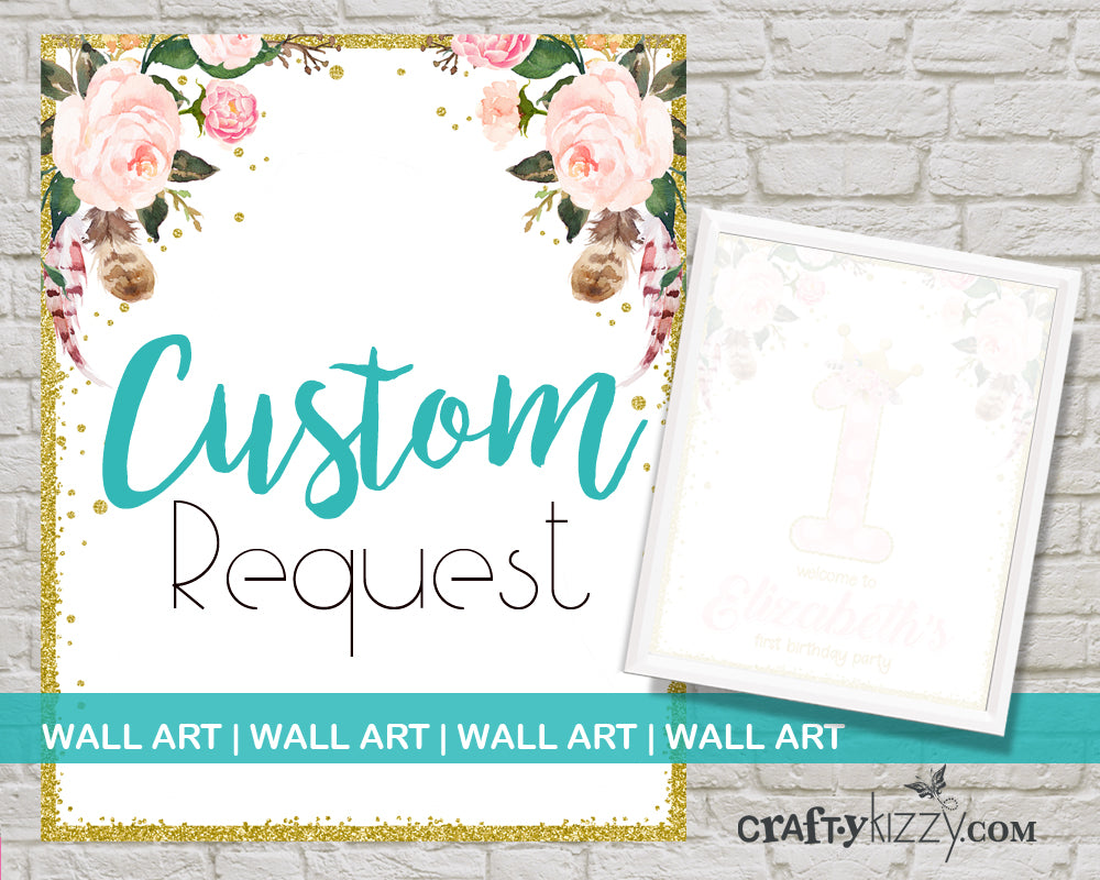 Custom Wall Art Design - Custom Monogram Design - Custom Nursery Room Decor 8x8 8x10 11x17 - CraftyKizzy