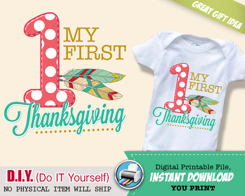 My First Thanksgiving Iron On Printable Decal - 1st Thanksgiving Outfit - Tribal Digital Transfer - INSTANT DOWNLOAD - CraftyKizzy