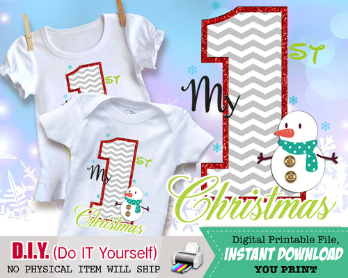 My 1st First Christmas Outfit Iron On Digital Decal - Printable Transfers - Holiday Shirts Unisex Baby Outfit  INSTANT DOWNLOAD