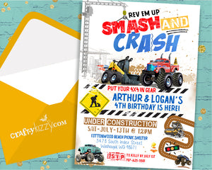 Monster Truck Joint Birthday Party Invitation 4x4 Construction Invitations - Twins Loader VS Monster Truck