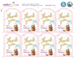 Cookie Thank You Favor Tags - Cookie Decorating Party Favors - Cookies and Milk Birthday Tag - INSTANT DOWNLOAD