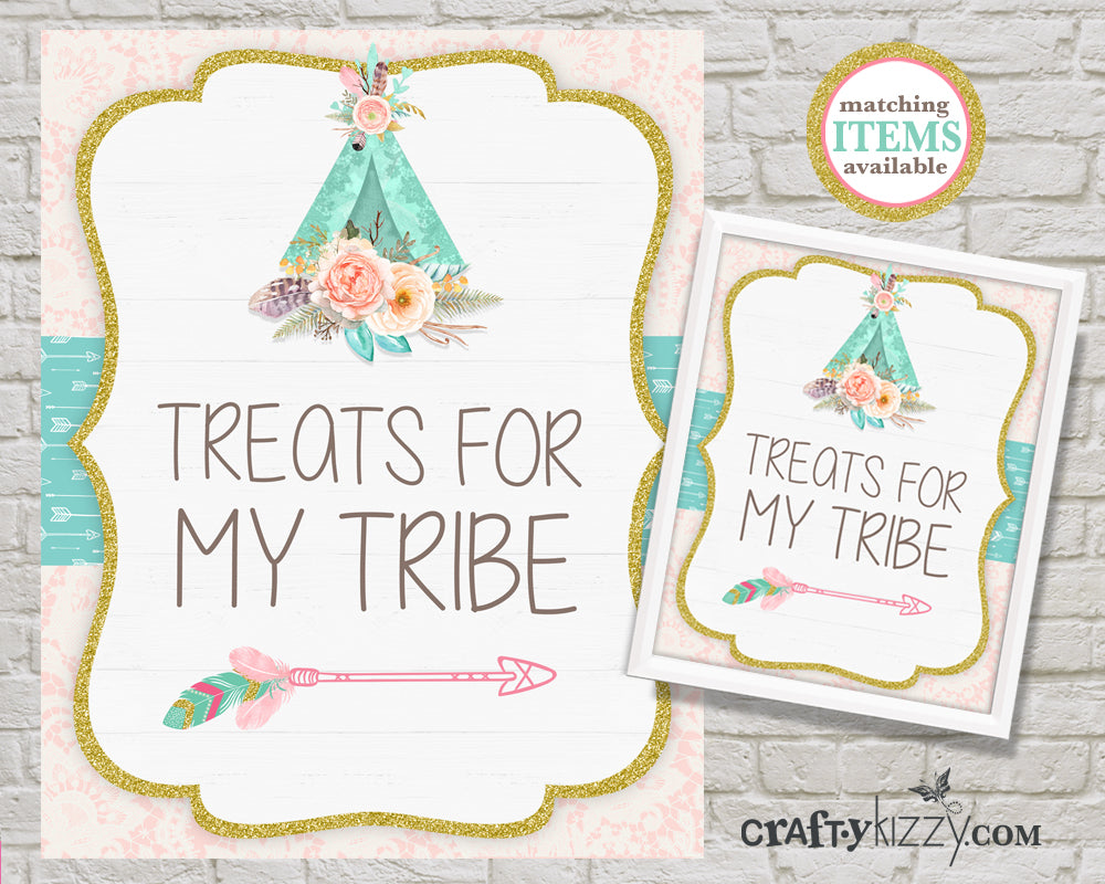 Treats For My Tribe Party Table Sign - Watercolor Teepee Printable Treat Signs - Tribal Woodland Birthday - INSTANT DOWNLOAD - CraftyKizzy