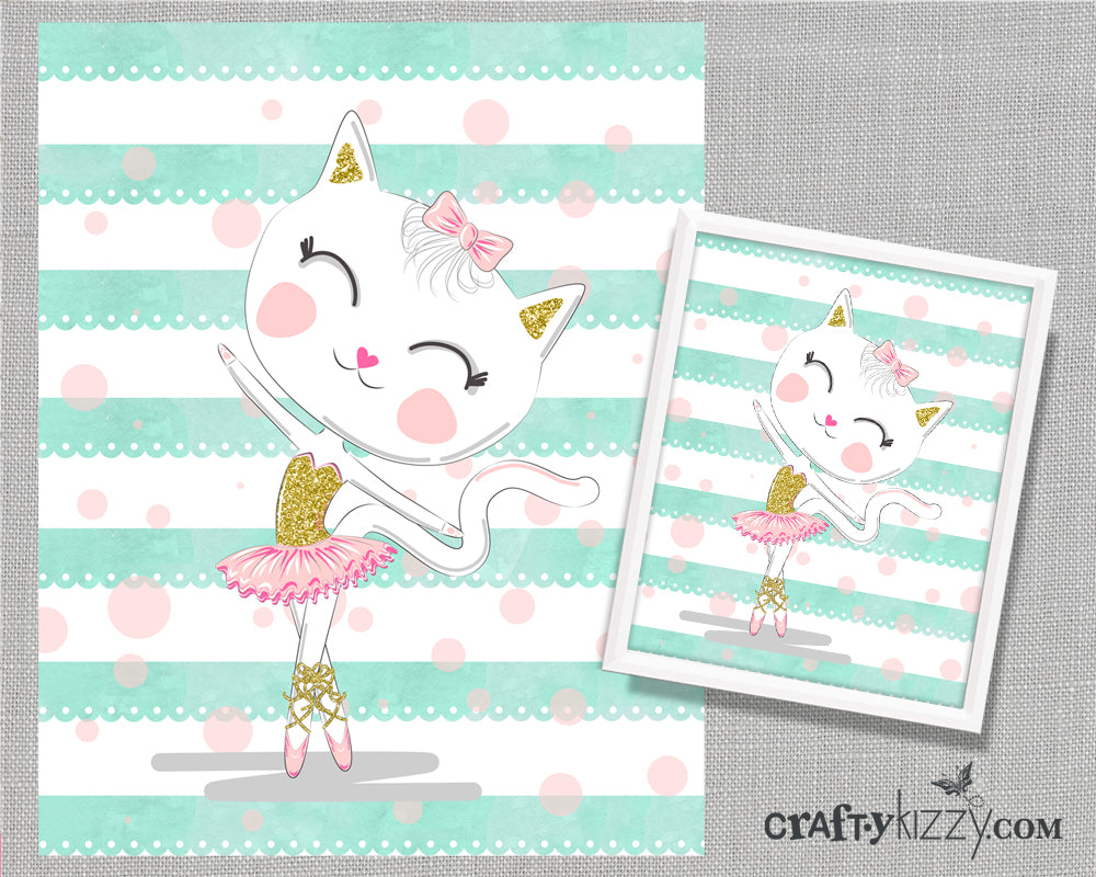 Ballerina Cat Girls Nursery Wall Art Printable Illustration - Pink and Mint - Ballerina Girls Room Decor - INSTANT DOWNLOAD - CraftyKizzy