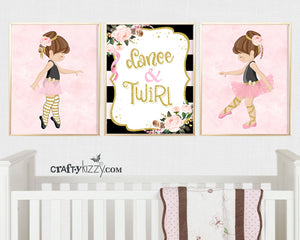 Ballerina Nursery Wall Art Printable - DIY Girl Blush Pink Ballet Dancer - Black and Gold Decor - Set of 3 - INSTANT DOWNLOAD