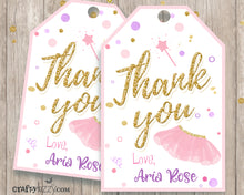 Ballet Thank You Favor Tags - Ballerina Tutu Birthday Tags - Dance Party Favors Personalized  -  Party Printables - CraftyKizzy