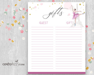 Ballet Baby Shower Gift List Printable - Baby Girl Pink Gift List - INSTANT DOWNLOAD - CraftyKizzy
