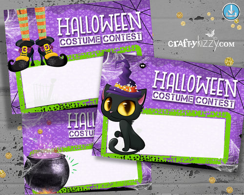 Costume Contest Ballot Tags Halloween Voting Cards - Printable Entry Card - Printable Ballots INSTANT DOWNLOAD - CraftyKizzy