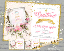 Pink and Gold Girl Baptism Invitation - Girls Christening Invitation Easter First Holy Communion Invites Baptism Party - CraftyKizzy