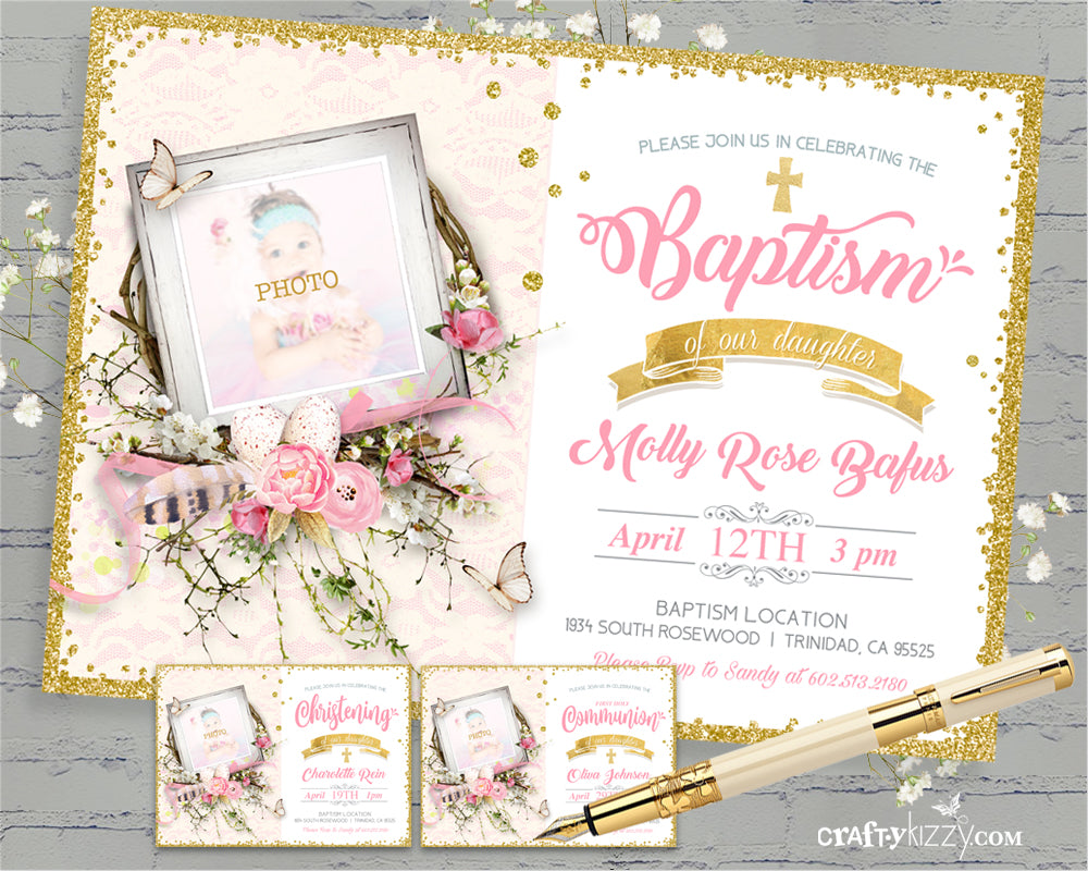 Girls First Holy Communion Baptism Invitation JW LDS