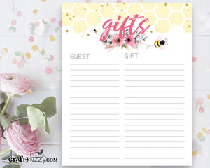 Bee Baby Shower Gift List Printable - Baby Girl Pink and Yellow Gift List - INSTANT DOWNLOAD - CraftyKizzy