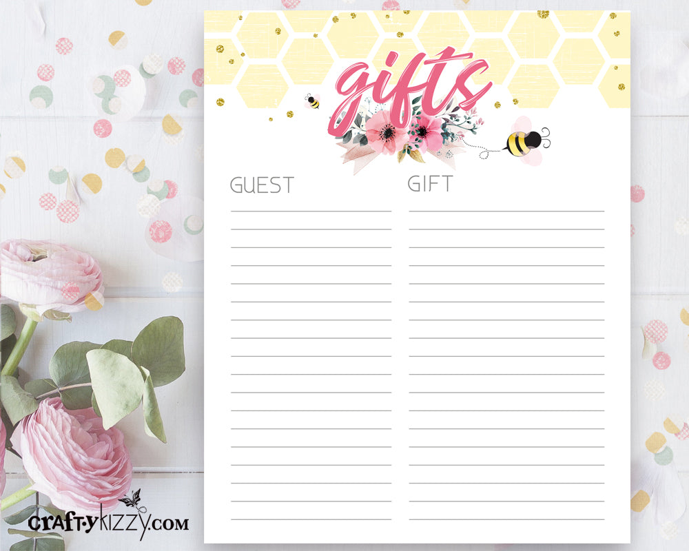 Bee Baby Shower Gift List Printable - Baby Girl Pink and Yellow Gift List - INSTANT DOWNLOAD