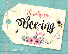 Thanks For Beeing Here Baby Shower Favor Tags - Bee Thank You Tags - Thanks for Bee-ing Bumble Bee Tags - Birthday Tags - INSTANT DOWNLOAD