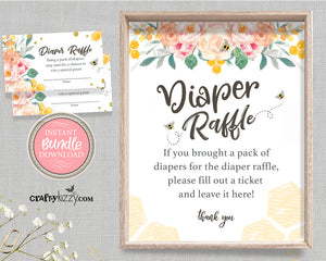 Bee Baby Shower Games and Printable Diaper Raffle Sign - Diaper Raffle Ticket - Bee Themed Party Bundle - Diaper Raffle Sign and Card Game - INSTANT DOWNLOAD - CraftyKizzy