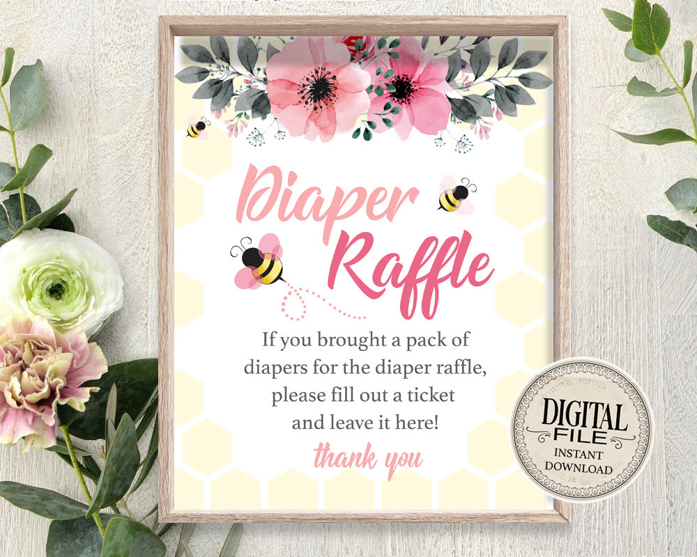 Bee Baby Shower Diaper Raffle Sign - Mommy To Bee Game Sign - Diaper Game Printable Table Signs - INSTANT DOWNLOAD - CraftyKizzy