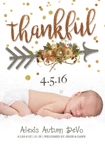 Birth Announcement - Thankful Birth Announcement Card - Photo Card - Thanksgiving Printable File