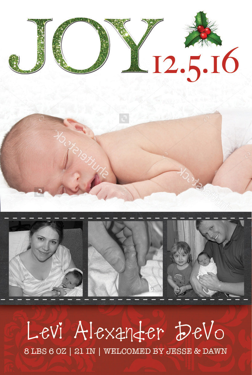 Christmas Birth Announcement Card - Joy Birth Announcement Card ...