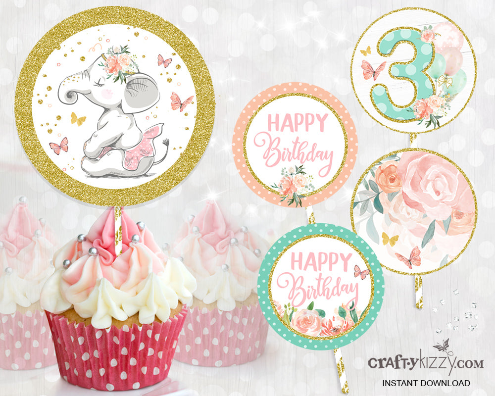 Elephant Pink and Gold THIRD Birthday Cupcake Toppers - Floral Ballet Cupcake Toppers - Printable Party Labels - INSTANT DOWNLOAD - CraftyKizzy