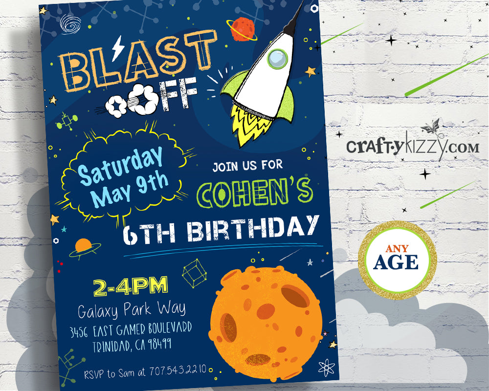 1 2 3 Blast Off Space Invitations Birthday