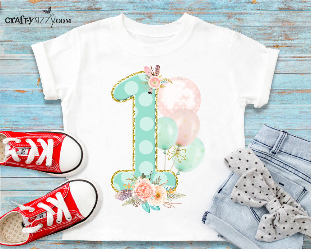 Boho FIrst Birthday T-shirt - Shabby Chic Party Outfit - Wild One Shirt - Mint Pink Floral Tee Feathers & Balloons - CraftyKizzy