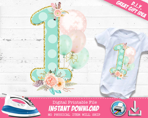 Boho First 1st Birthday Iron On Digital Decal - Heat Transfer Outfit - Girls Wild One T-shirt Decal - INSTANT DOWNLOAD - CraftyKizzy