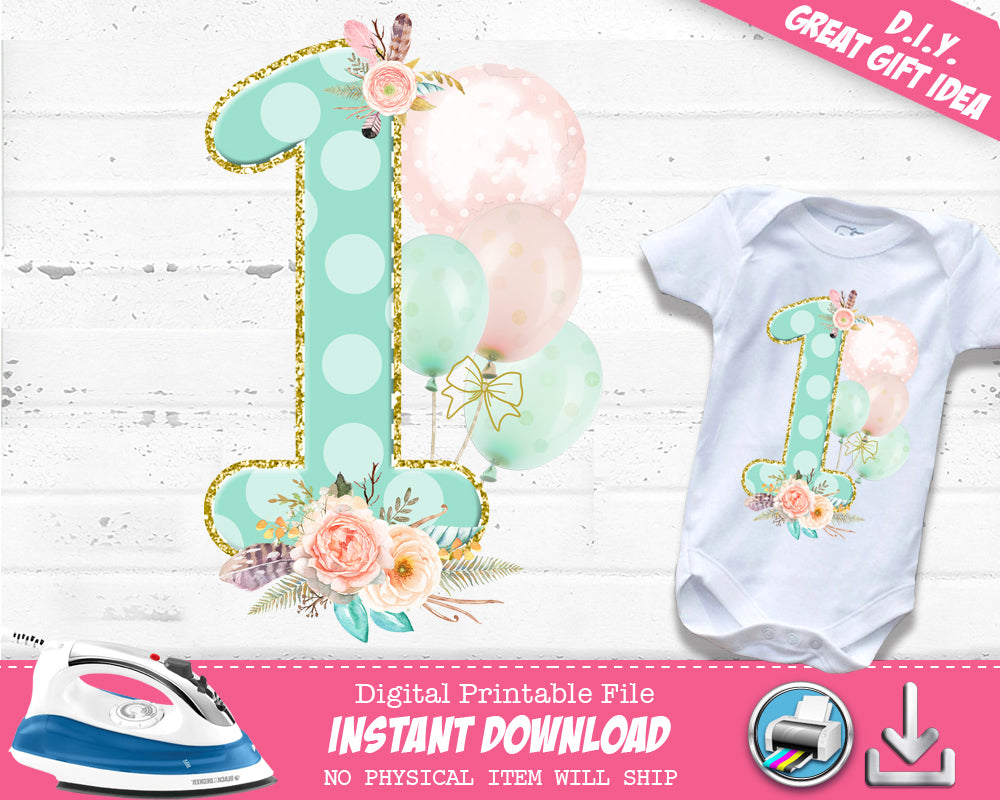 Boho First 1st Birthday Iron On Digital Decal - Heat Transfer Outfit - Girls Wild One T-shirt Decal - INSTANT DOWNLOAD