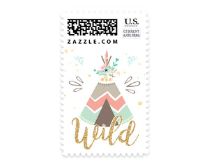 Boho Teepee Baby Shower Postage Stamps