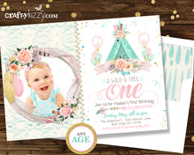 First 1st Birthday Boho Chic Invitation - Girl Wild One Teepee Watercolor Shabby Chic Pink Gold Mint Printable - CraftyKizzy