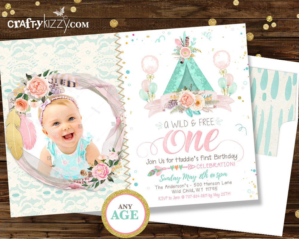 First 1st Birthday Boho Chic Invitation - Wild One Teepee Watercolor ...
