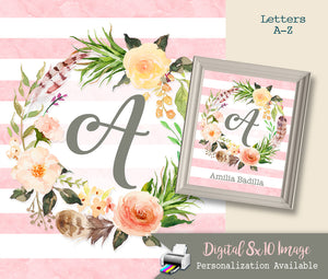 Boho Watercolor Nursery Monogram Art Baby Girl Initial Monogram - Printable Letter Wall Art Decor - Floral Feather Wreath - Personalized Option