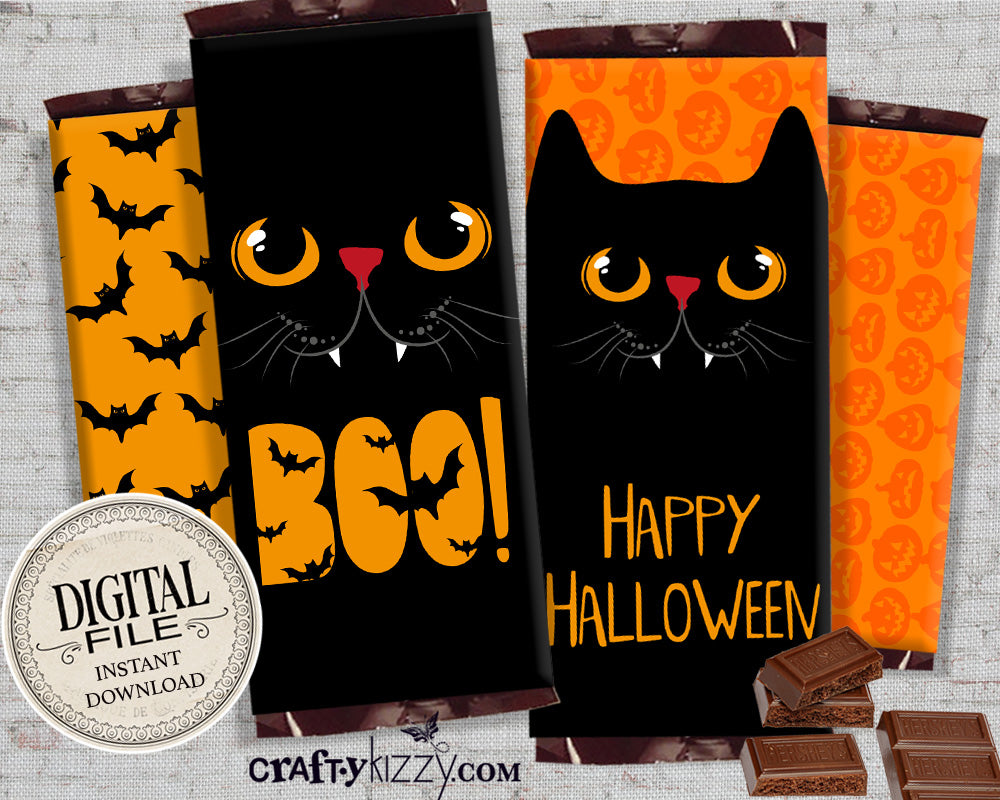 Boo Halloween Chocolate Bar Wrapper - Black Cat Printable Candy Favors - Happy Halloween Hershey's Bar Label - Classroom Trick or Treat Favors - INSTANT DOWNLOAD