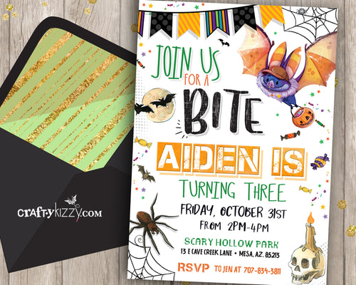 Boy Halloween Birthday Invitation Bat and Spider Invitation for kids Fall Birthday Invitations Join Us For A Bite