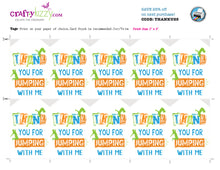 Jump Thank You Favor Tags - Trampoline Party Favors - Bounce House Tag - Orange Blue Green INSTANT DOWNLOAD