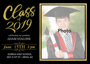 Class of 2019 Graduation Invitation - High School Grad - College Graduation - Black And Gold - Red And Gold - Invitations