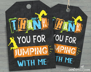 Boy Jump Thank You Favor Tags - Trampoline Party Favors - Bounce House Tag - INSTANT DOWNLOAD - CraftyKizzy