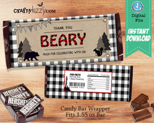 Black and White Lumberjack First Birthday Invitation - Rustic Bear Invitations - Boy 2nd Birthday Wild One - Red Plaid