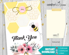 bumble bee baby shower thank you cards