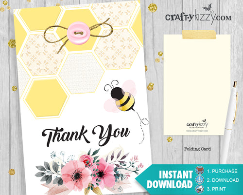 Girl Bumble Bee Thank you Card - Mom to Bee Thank You Card - Printable Pink Floral Honey Comb - Baby Shower - INSTANT DOWNLOAD - CraftyKizzy