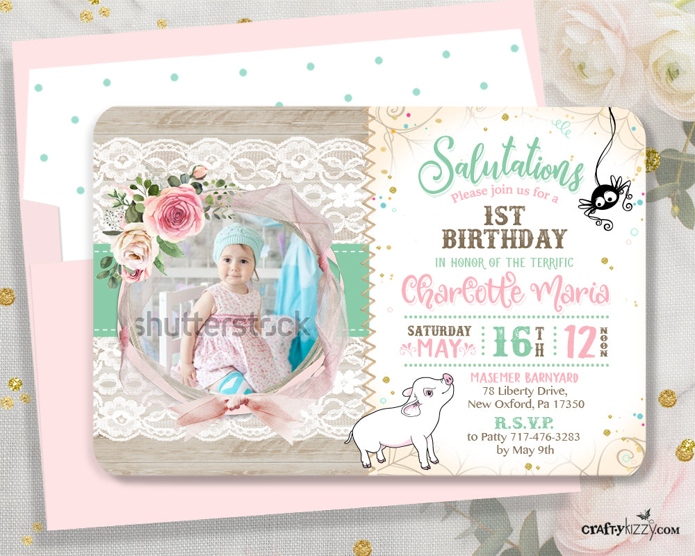 Charlotte's Web First 1st Birthday Boho Invitation - Girl Shabby Chic Pink Charlottes Web Invitations - CraftyKizzy